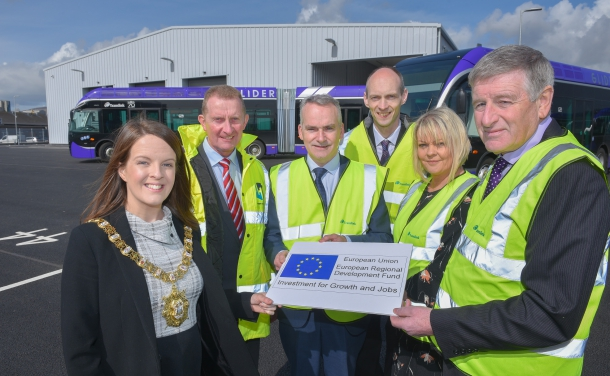 From L to R: Cllr Nuala McAllister, Lord Mayor of Belfast, David Henry, Henry Brothers Construction, Chris Conway, CEO Translink, Ian Morrison, ERDF Managing Authority, Maeve Hamilton, ERDF Managing Authority, Ciarán De Búrca Dept for Infrastructure.