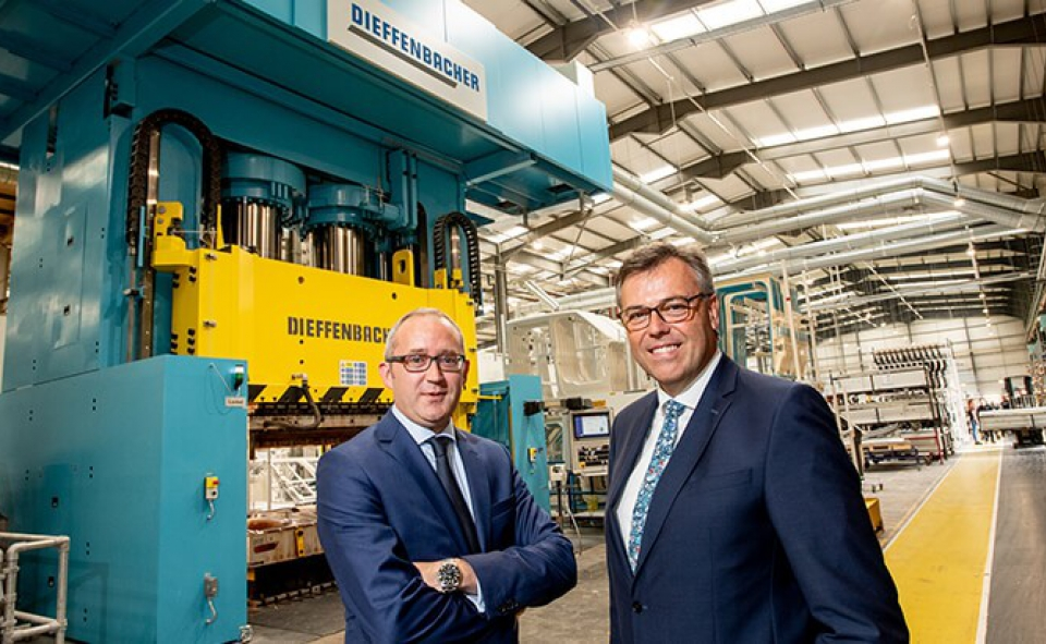 Pictured (L-R) are Jonathan Holmes, Managing Director, Creative Composites with Alastair Hamilton, CEO, Invest NI.