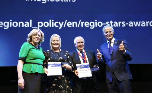 From left to right are Corina Crețu, EU Commissioner for Regional Policy, Maeve Hamilton, Head of the Managing Authority, European Fund Management, Charles Hamilton, Head of EU Programmes, InvestNI and Lambert van Nistelrooij, MEP